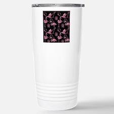 Flamingos on Black Stainless Steel Travel Mug