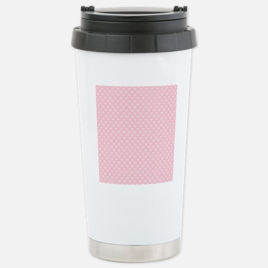 Pink and White Floral D Stainless Steel Travel Mug