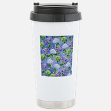 Hydrangeas Floral Blue Stainless Steel Travel Mug