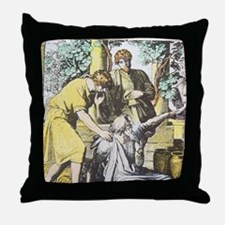 Noah drunken with sons, Ham cursed by Throw Pillow