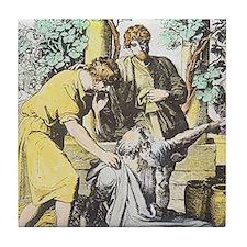 Noah drunken with sons, Ham cursed by Tile Coaster
