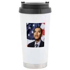 Obama Portrait Button Travel Mug
