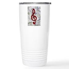 Red Treble Clef Travel Mug