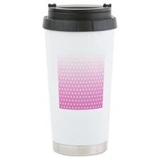 Pink White Polka Dot Travel Mug