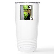 Black Cat Watching Squi Travel Mug