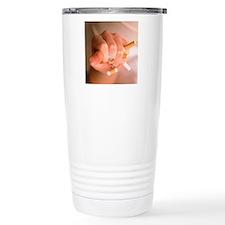 Hand crushing cigarette Travel Mug