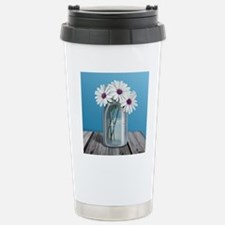 White and Purple Daisy  Travel Mug