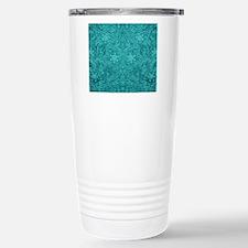 Leather Floral Turquois Travel Mug