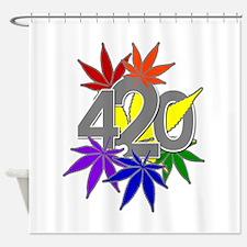 3Leaf Rainbow Shower Curtain
