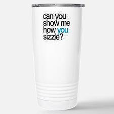 White w/ Blue Sizzle Stainless Steel Travel Mug