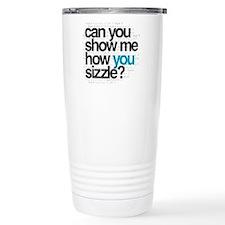 White w/ Blue Sizzle Travel Mug