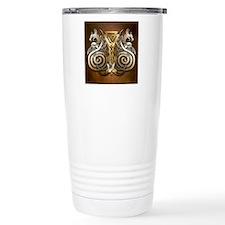 Norse Valknut Dragons Travel Coffee Mug