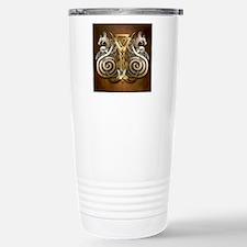 Norse Valknut Dragons Travel Mug