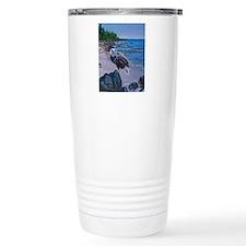 Bald Eagle on Shore Travel Mug