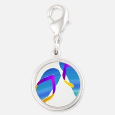 Blue and Purple Watercolor Flip Flops Charms