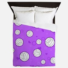 Cute Volleyball Pattern Purple Queen Duvet