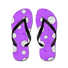 Cute Volleyball Pattern Purple Flip Flops