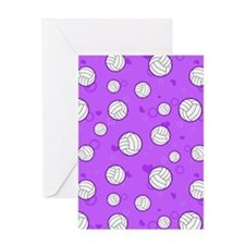Cute Volleyball Pattern Purple Greeting Card