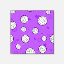 "Cute Volleyball Pattern Pur Square Sticker 3"" x 3"""