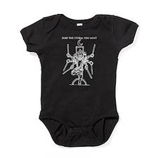 Octa White Text above Baby Bodysuit