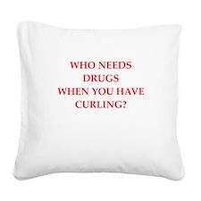 curling Square Canvas Pillow