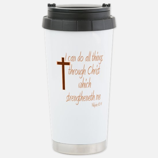 Philippians 4 13 Brown  Stainless Steel Travel Mug