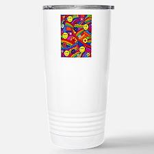 Hippie Smiley Face Rain Thermos Mug