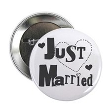Just Married Black Button
