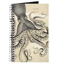 Vintage octopus on marbling texture Journal