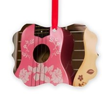 Hawaii, Kona. Two painted ukulele Ornament