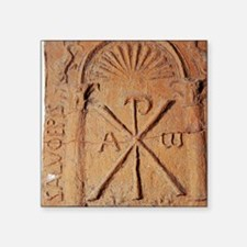 "Christian Stele. Chi-Rho sy Square Sticker 3"" x 3"""