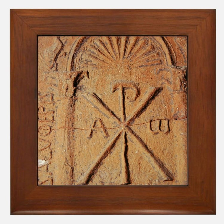 Christian Stele. Chi-Rho symbol. 5th-7 Framed Tile