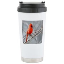 Male cardinal perched a Travel Mug