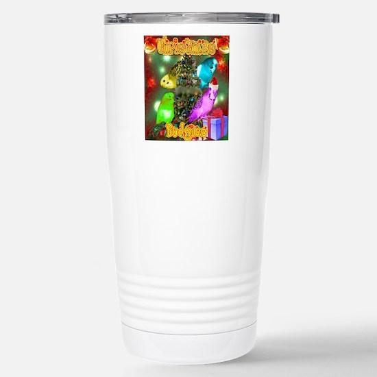 Christmas Budgies Stainless Steel Travel Mug
