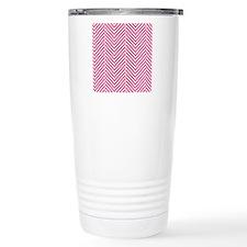 Pink Herringbone Travel Mug