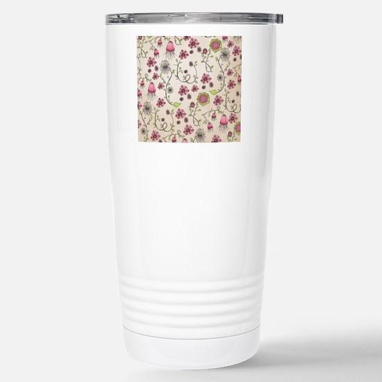 Whimsical pink flowers  Stainless Steel Travel Mug