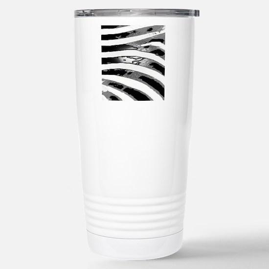 Gray Black White Zebra  Stainless Steel Travel Mug