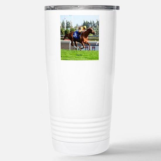 Horse Racing Clock Stainless Steel Travel Mug