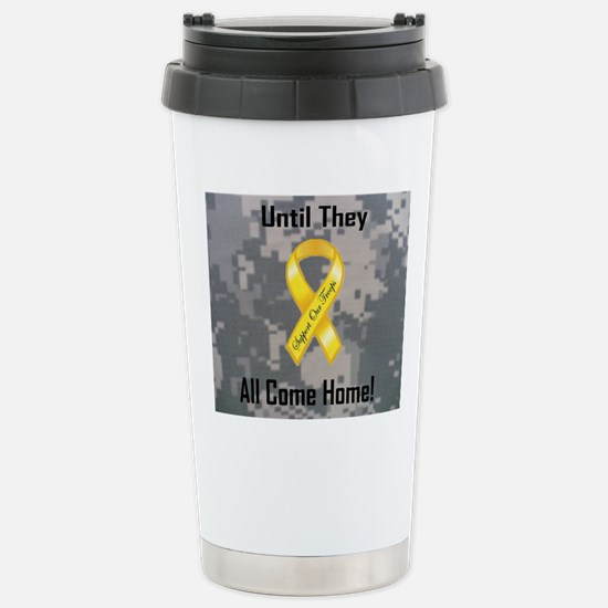 Support Our Troops wide Stainless Steel Travel Mug