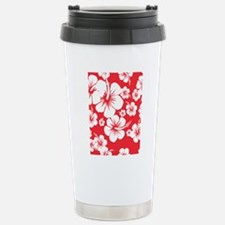 Red and White Hibiscus  Stainless Steel Travel Mug