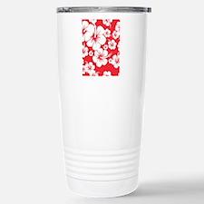 Red and White Hibiscus  Travel Mug