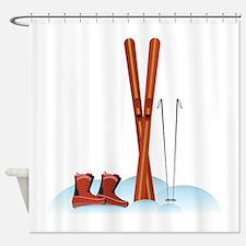 Ski Gear Shower Curtain
