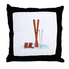 Ski Gear Throw Pillow