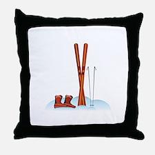 Ski Gear Throw Pillow