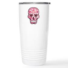 CANDY SKULL-Pink hearts-1 Travel Mug