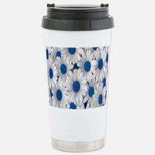 English Daisies Blue Stainless Steel Travel Mug