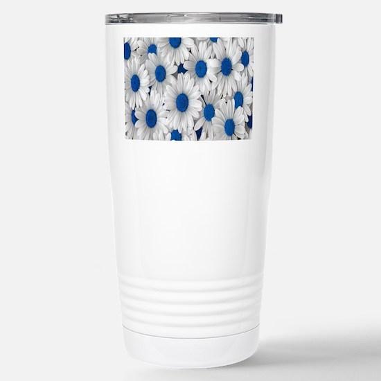 English Daisies Blue Stainless Steel Travel Mug
