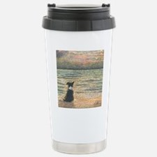 A Border Collie dog say Travel Mug