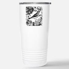 Bird with Flowers Stainless Steel Travel Mug