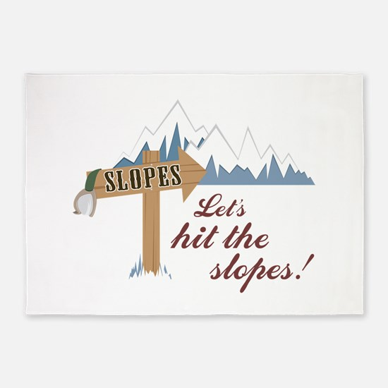 Let's Hit the Slopes! 5'x7'Area Rug